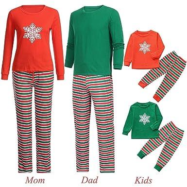 10dc55238ef2f Pitashe Ensembles Pyjama Noel Famille Père Noël Mère Garçon Fille Bébé  Pyjamas à Deux Pièces Set Pull-Over Manches Longues Flocon De Neige Top et  Rayure ...