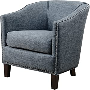 Madison Park Fremont Accent Chairs-Hardwood, Plywood, Faux Linen, Bedroom Lounge Mid Century Modern Deep Seating, Club Style Barrel Armchair, Living Room Furniture, See Below, Slate Blue