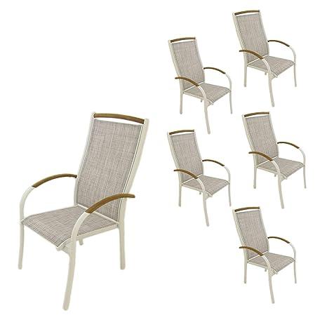 Edenjardi Pack 6 sillones de Exterior de Aluminio Blanco y ...