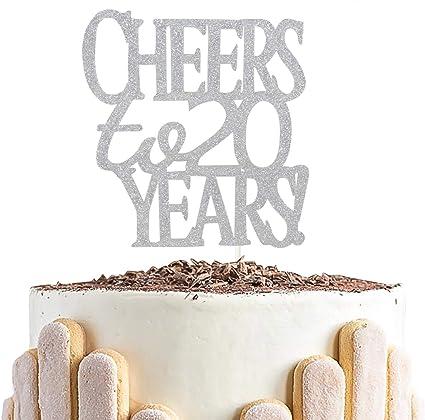 Pleasant Amazon Com Sliver Glitter Cheer To 20 Years Cake Topper Hello Birthday Cards Printable Benkemecafe Filternl