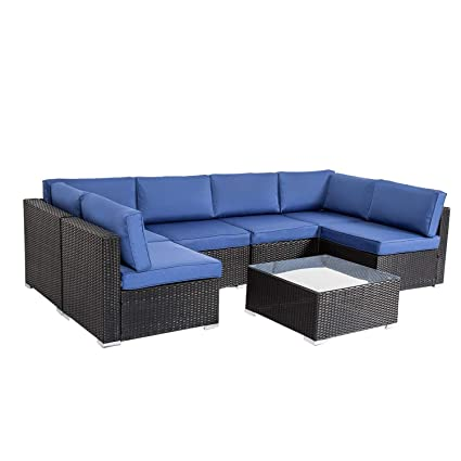 Peach Tree Outdoor Furniture All-Weather Sectional Wicker Sofa Set 7 PCs  Patio Rattan Clearance with Washable Cushions and Coffee Table, Backyard,  ...