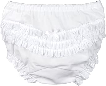I.C Collections Baby Girls White Rumba Diaper Cover Bloomers