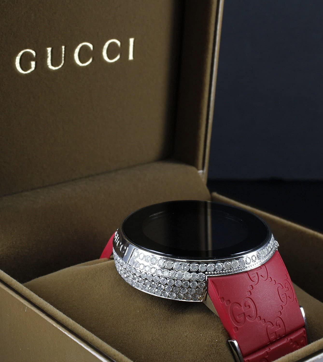 5152ca142a8 I Gucci Real Diamond Custom Red I-gucci Watch Iced Rubber Band 5 Carat  Digital  Amazon.co.uk  Watches