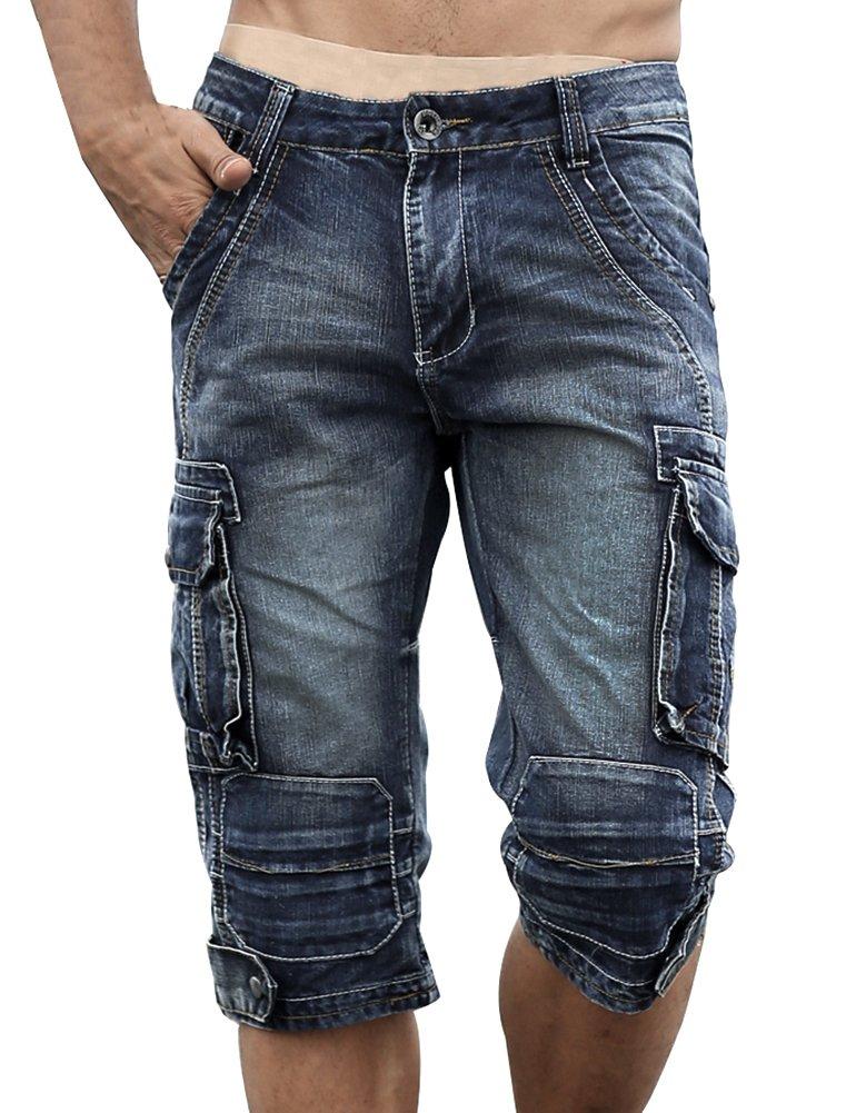 Idopy Men`s Cargo Denim Biker Jeans Shorts with Zippers Blue 36 by Idopy