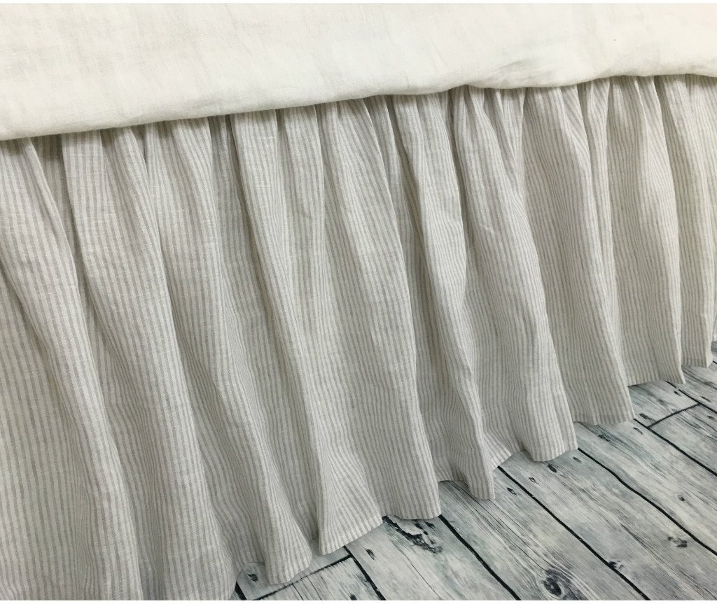Stone gray ticking stripe bed skirt, Ticking stripe dust ruffle, Country bed skirts, HANDMADE, FREE SHIPPING