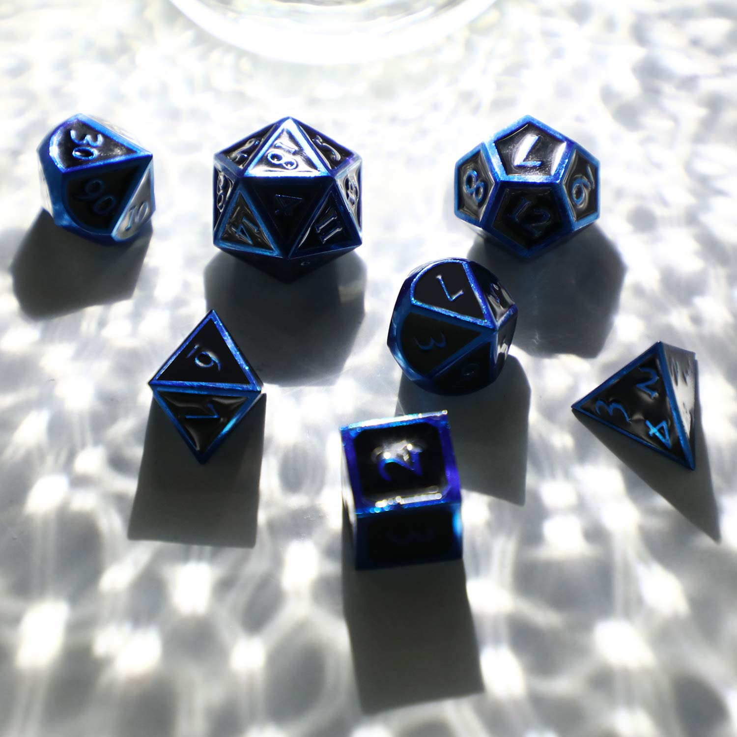 Hestya 7 Pieces Metal Dices Set DND Game Polyhedral Solid Metal D&D Dice Set with Storage Bag and Zinc Alloy with Enamel for Role Playing Game Dungeons and Dragons (Blue Edge Black) by Hestya (Image #5)