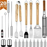 Dad Gift Grill Set Stainless Steel BBQ Accessories, Spatula, Tong, Fork, Silicone Basting Brush, Thermometer, Corn Holders, Kabob&Vegetables Skewers, Grilling Basket, Pepper Shaker, Case, 20PCS