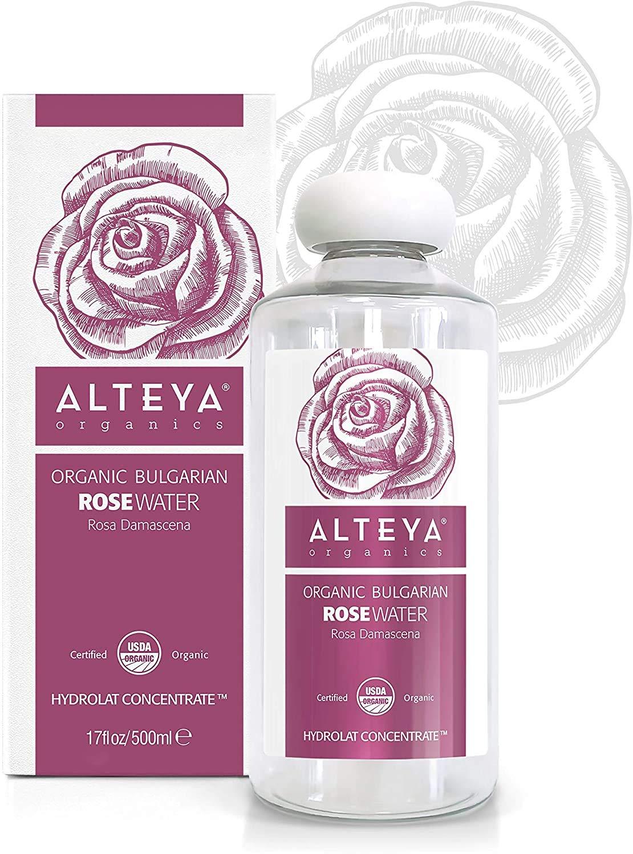 Alteya Organics Rose Water USDA Certified Organic Facial Toner, 17 Fl Oz/500mL Pure Bulgarian Rosa Damascena Flower Water, Award-Winning Moisturizer BPA-Free Bottle with Reducer