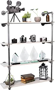 Pipe Decor 4 Tier Industrial Shelves, Vintage Iron DIY Shelving Unit, Rustic Wall Mounted Hanging Bookshelf, Perfect for Garage or Kitchen Storage, Heavy Duty Floating Black Metal Rack Four Shelf Kit