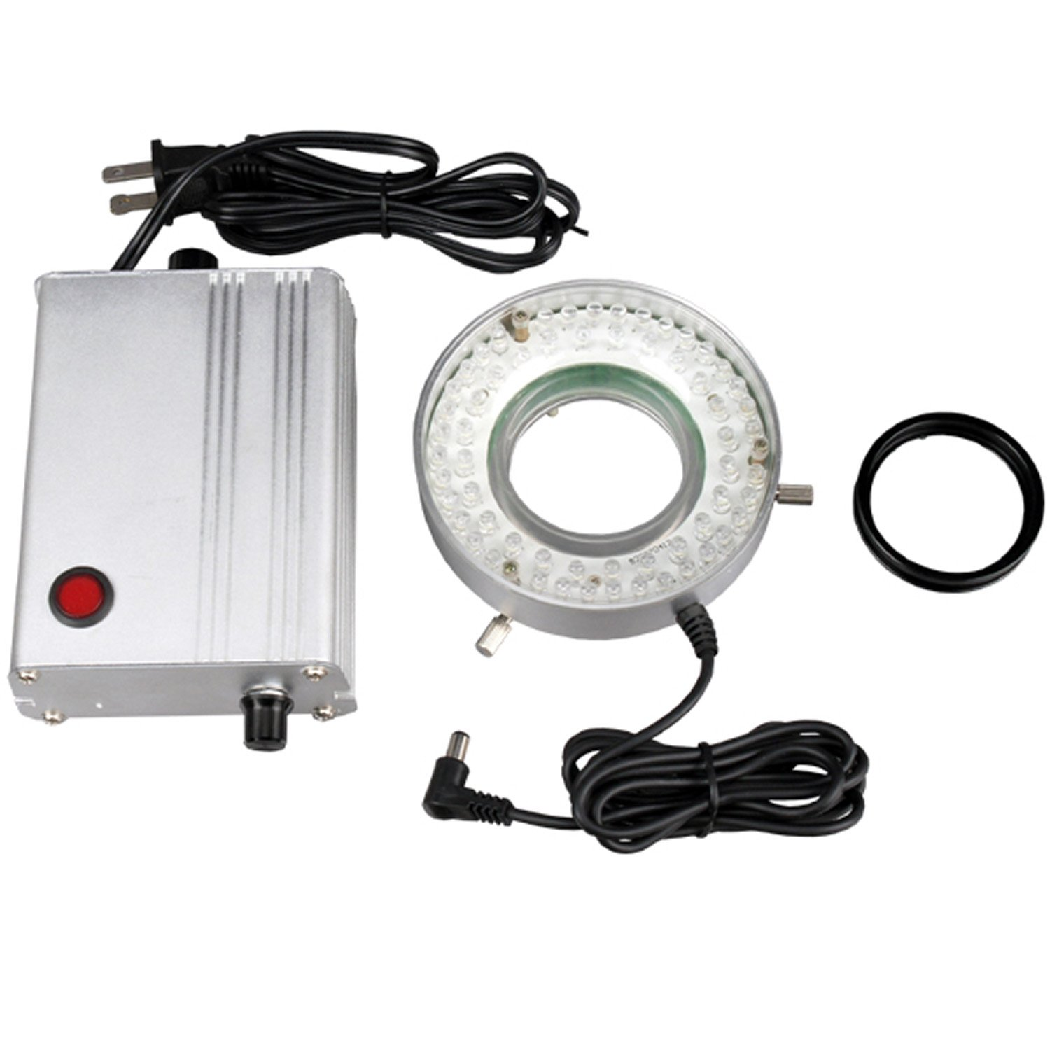 AmScope LED-60MW 60-LED Microscope Ring Light with Heavy-Duty Solid Metal Control Box