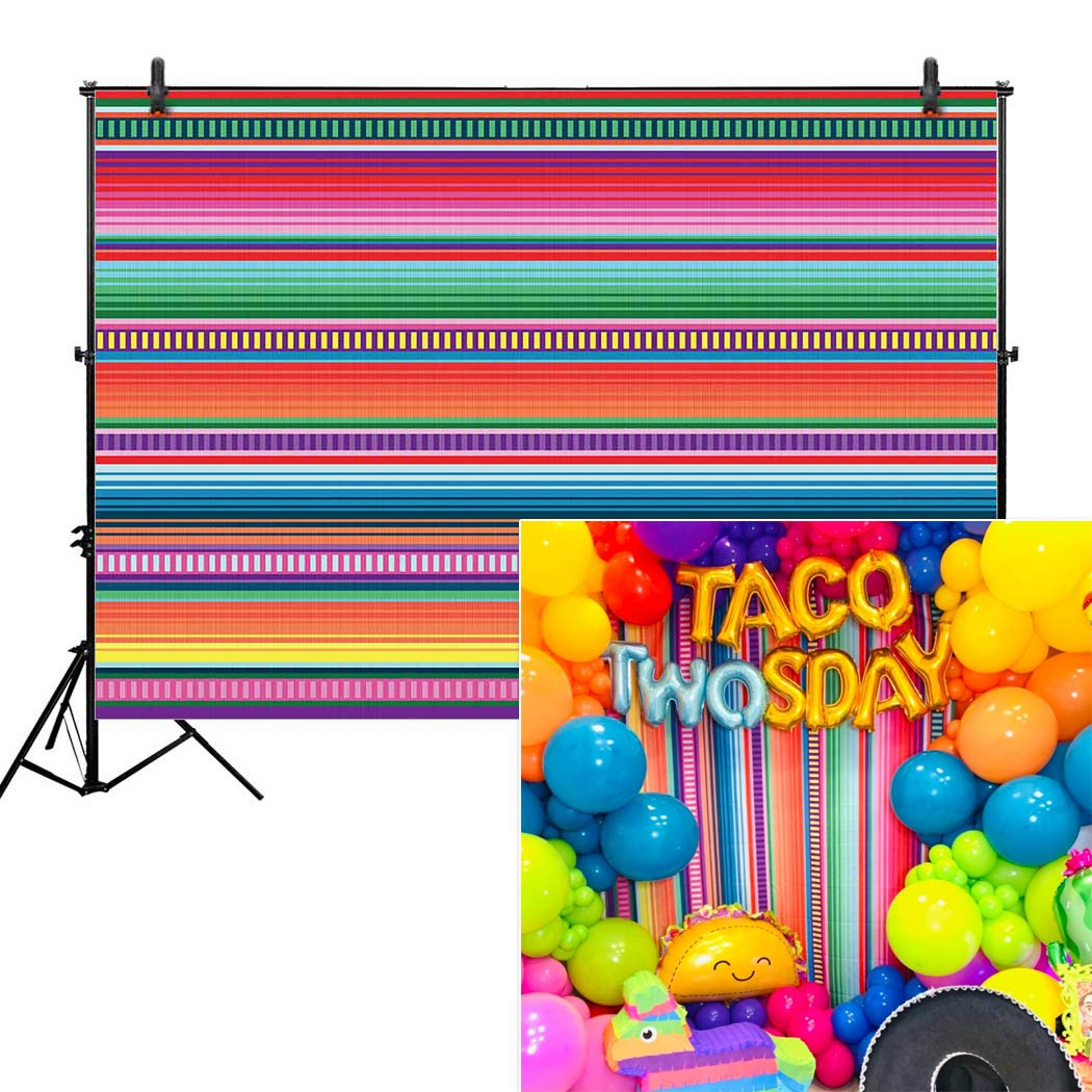 Allenjoy 7x5ft Color Fiesta Theme Party Stripes Backdrop Cinco De Mayo Mexican Festival Photography Background Cactus Banner Decoration Event Table Decor Banner Background Children Photo Booth Shoot by Allenjoy (Image #1)