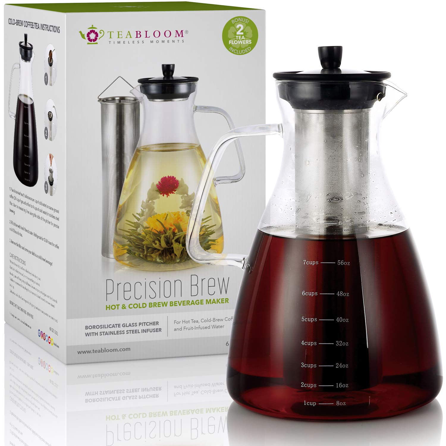 Teabloom Precision All-Brew Beverage Maker - Extra Large Stovetop Safe Glass Teapot / Coffee Maker - 68 OZ / 2.0 L - For Hot / Iced Tea, Cold Brew Coffee, & Fruit Infused Water - 2 Free Blooming Teas
