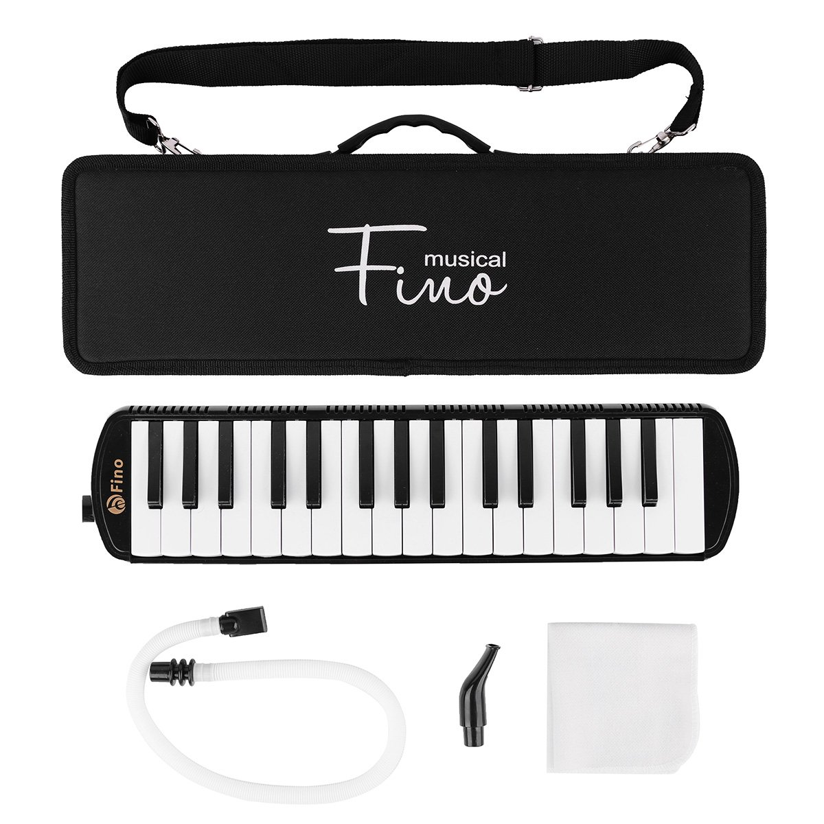 32 Piano Keys Melodica FINO Keyboards Pianica Wind Musical Instrument with Mouthpiece Tube Set Portable for Music Lovers Beginners Gift with Carrying Bag,Black