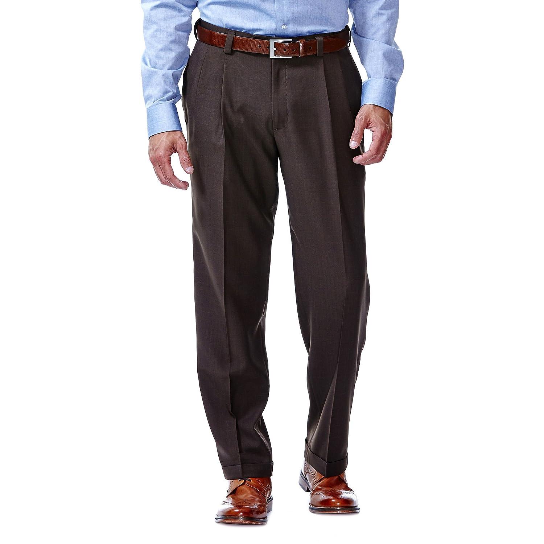 Haggar Men's eCLo Stria Expandable-Waist Pleat-Front Dress Pant Haggar Men's Bottoms HD00219