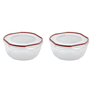 Sterilite 03958602 Ultra Seal 8.1 Quart Bowl, Clear Lid & Base w/ Red Rocket Gasket, 2-Pack