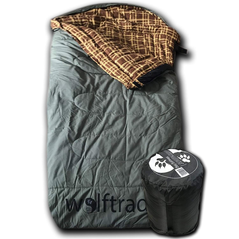 Wolftraders LoneWolf -30 Degree Premium Canvas Oversized Sleeping Bag, Green/Brown