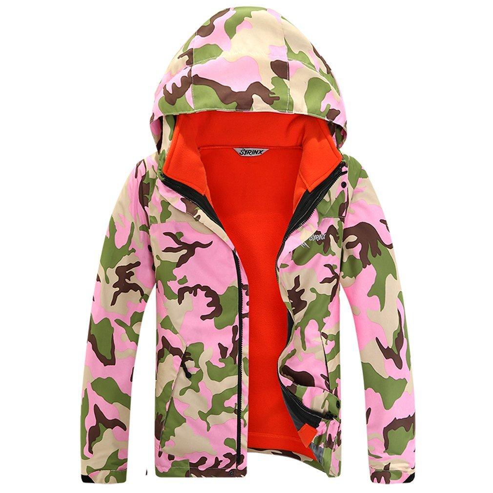 Camo Rose XL SYRINX Enfants 3 en 1 Veste Coupe-Vent Imperméable de plein air Sport Camping Randonnée Ski Manteau avec Veste Polaire
