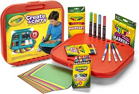 Crayola Create 'N Carry Art Kit Art Gift 2-in-1 Portable Lap Desk & Carry-Case for Child Artists On-The-Go,75Piece, Styles May Vary
