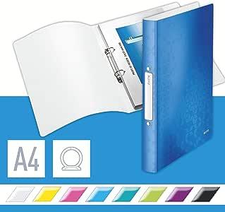 LEITZ 42570036 - Carpeta de anillas WOW PP 2 anillas redondas de 25 mm DIN A4 color azul metalizado: Amazon.es: Oficina y papelería