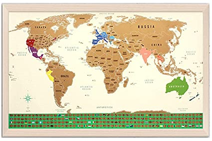 Amazon Com Scratch Off Map Of The World With Us States Outlined