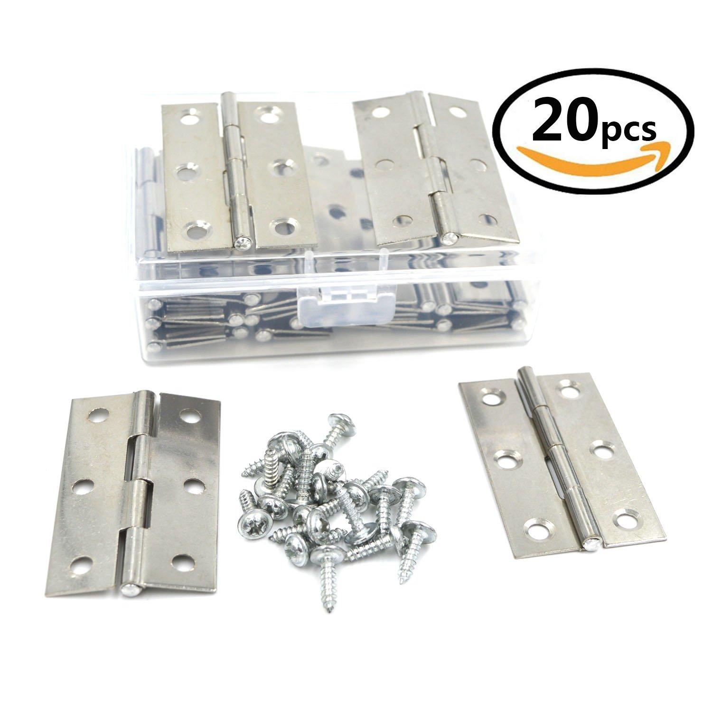 SpzcdZa 2.2 inch 20 Pcs Cupboard Cabinet/Home Furniture Hardware Door Folding Butt Hinges Silver Tone