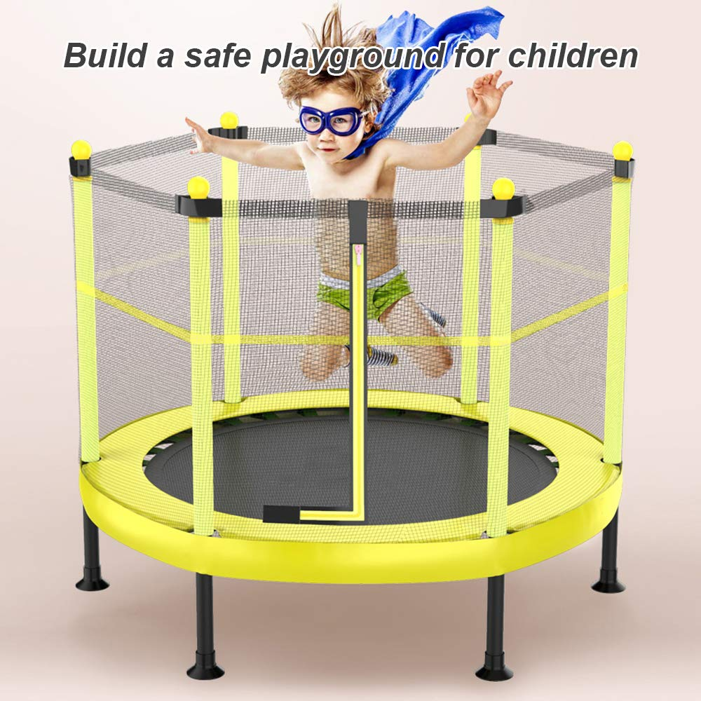 DlandHome 60 Inch Round Kids Mini Jumping Trampoline with Safety Pad Enclosure Net