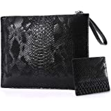 NIGEDU Women Clutches Fashion Snakeskin PU Leather Party Envelope Purse Bag with Hand Strap