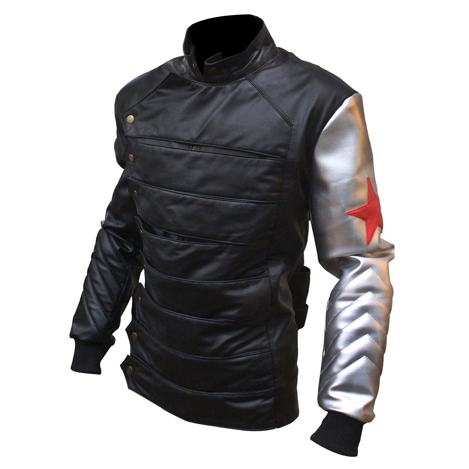 Captain America: Civil War Men's Bucky Barnes Winter Soldier Faux Leather Jacket