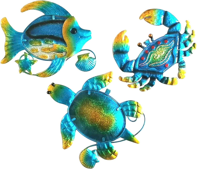 EKDJKK Metal Outdoor Indoor Wall Art Set of 3, Turtle, Fish and Crab Wall Decoration with Hook, Ocean Themed Metal Art Wall Decor for Bedroom, Garden, Patio, Deck, Backyard, Pool