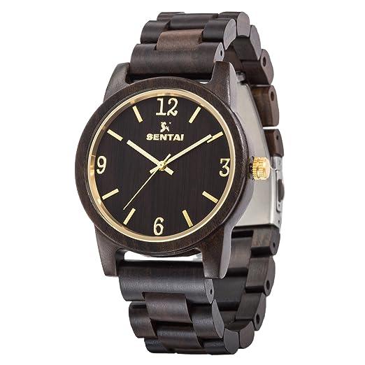 Reloj de madera Sentai Relojes de madera Sandalia natural Reloj de cuarzo hecho a mano para hombres con una gran cara clara y figuras claras accesorios de ...