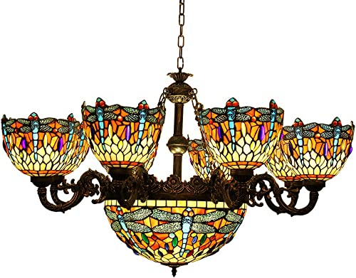 Makenier Vintage Tiffany Style Cyan and Red Stained Glass Dragonfly Lampshades 8 Arms Chandelier