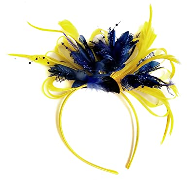 Yellow and Navy Fascinator on Headband Alice Band UK Wedding Ascot ... 3b14d2b939cf