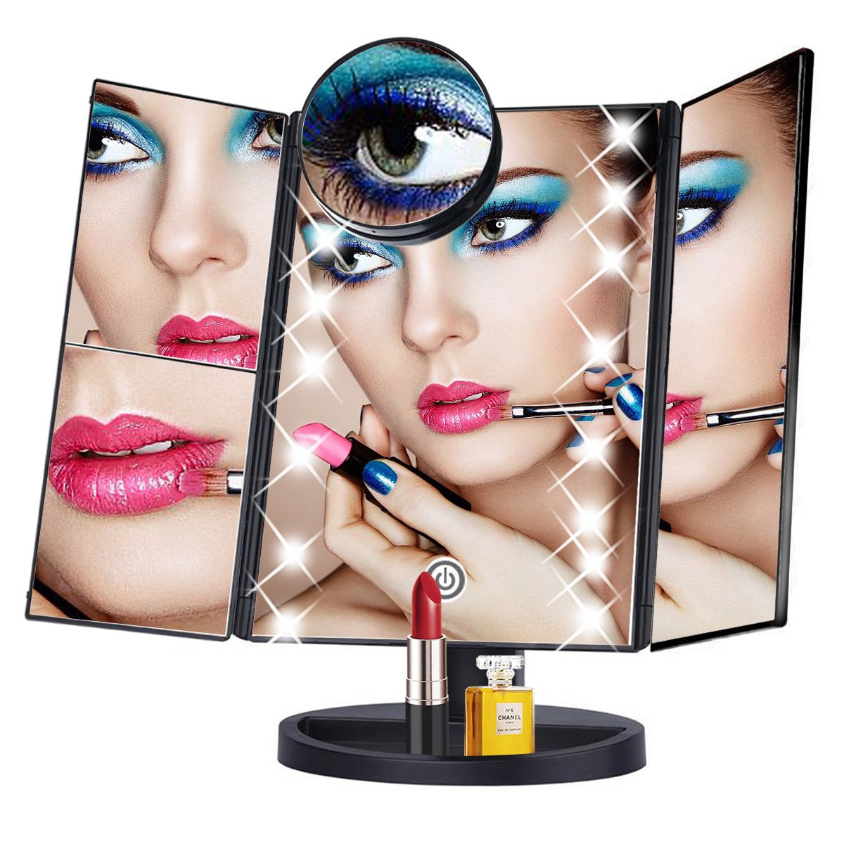 Abandship Makeup Vanity Mirror with 22 Led Lights,Tri Fold Mirror with 10x/3x/2x Magnification and Touch Screen,180°Adjustable Rotating,Battery&USB,Countertop Makeup Mirror for Women