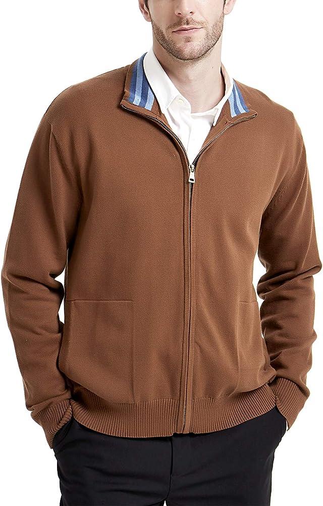 Kallspin - Cárdigan para hombre, con cierre completo, mezcla de algodón, casual con bolsillos Marrón café M: Amazon.es: Ropa y accesorios
