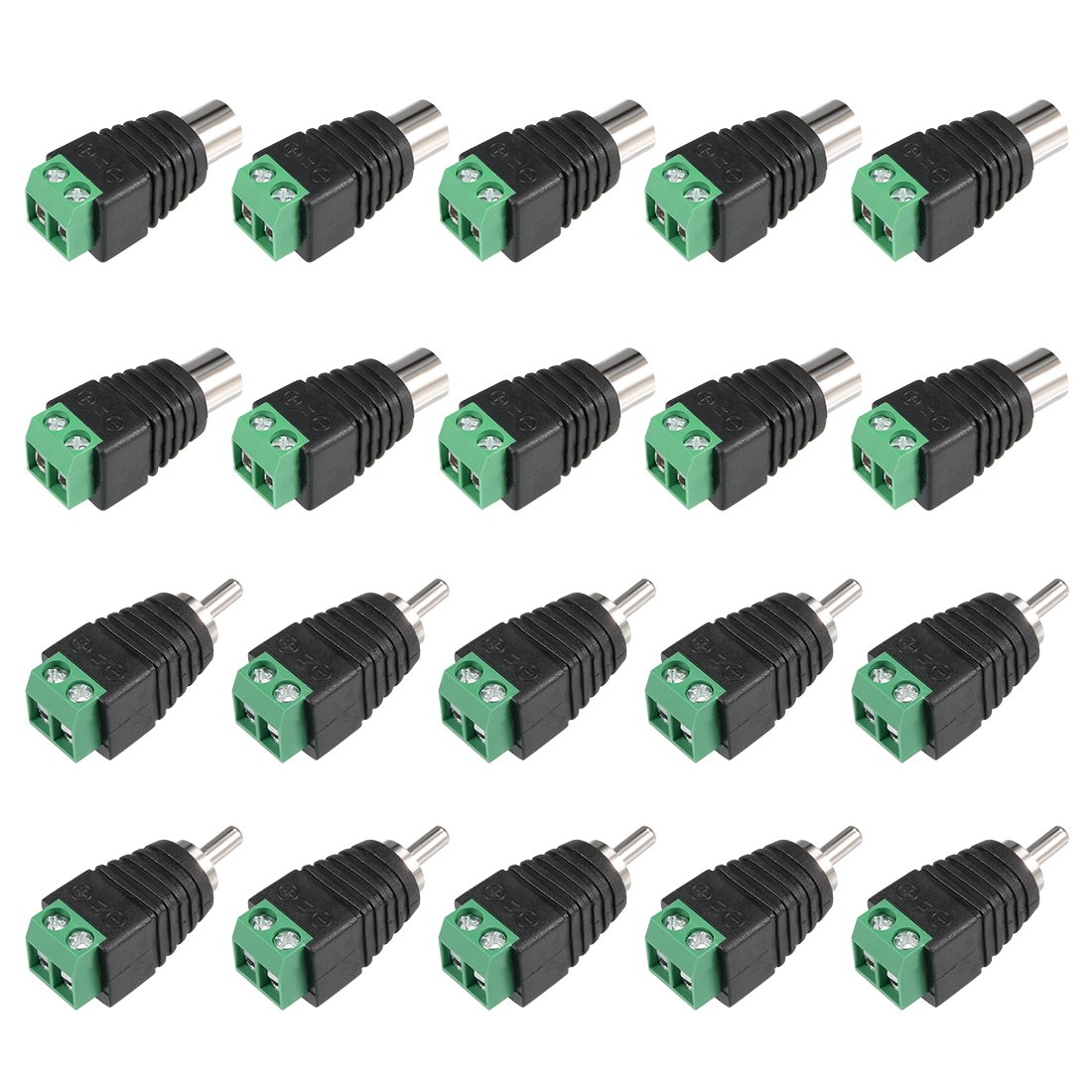 uxcell Coax Cat5 Cat6 to Stereo 3.5mm CCTV Camera Audio Balun Adapter Connector 5 Pcs