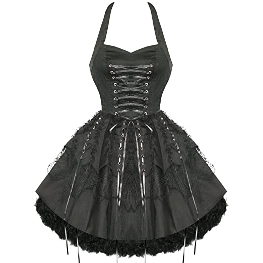 Steampunk Dresses and Costumes Hearts and Roses London Black Gothic Emo Vintage Flared Party Prom Dress  AT vintagedancer.com
