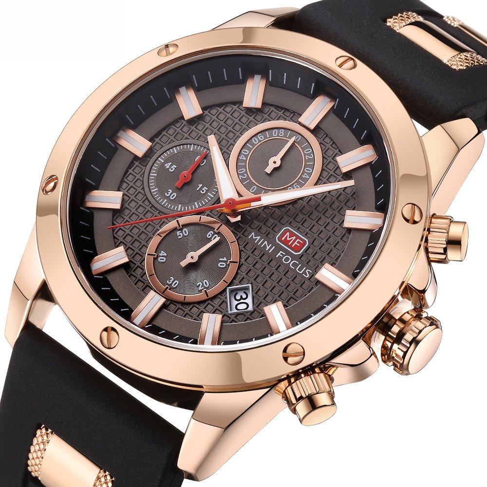 Men's Sport Quartz Watches,Fashion Casual Watch,Mini Focus Men Chronograph Waterproof Wrist Watch with Date Display (Gold Black)
