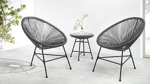 Bobochic - Pinto - Salon de Jardin 2 Places - Design Oeuf - Acier et  Cordage PVC - Noir