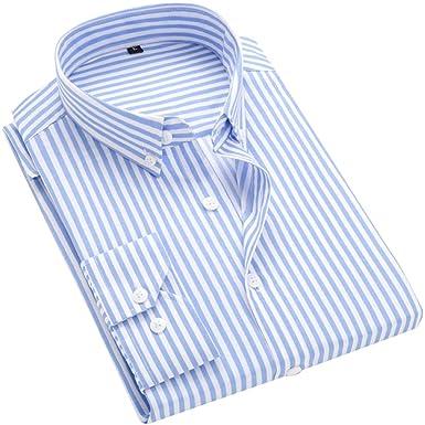 24285be1af2f DOKKIA Men s Casual Long Sleeve Vertical Striped Slim Fit Dress Shirts  (Light Blue White