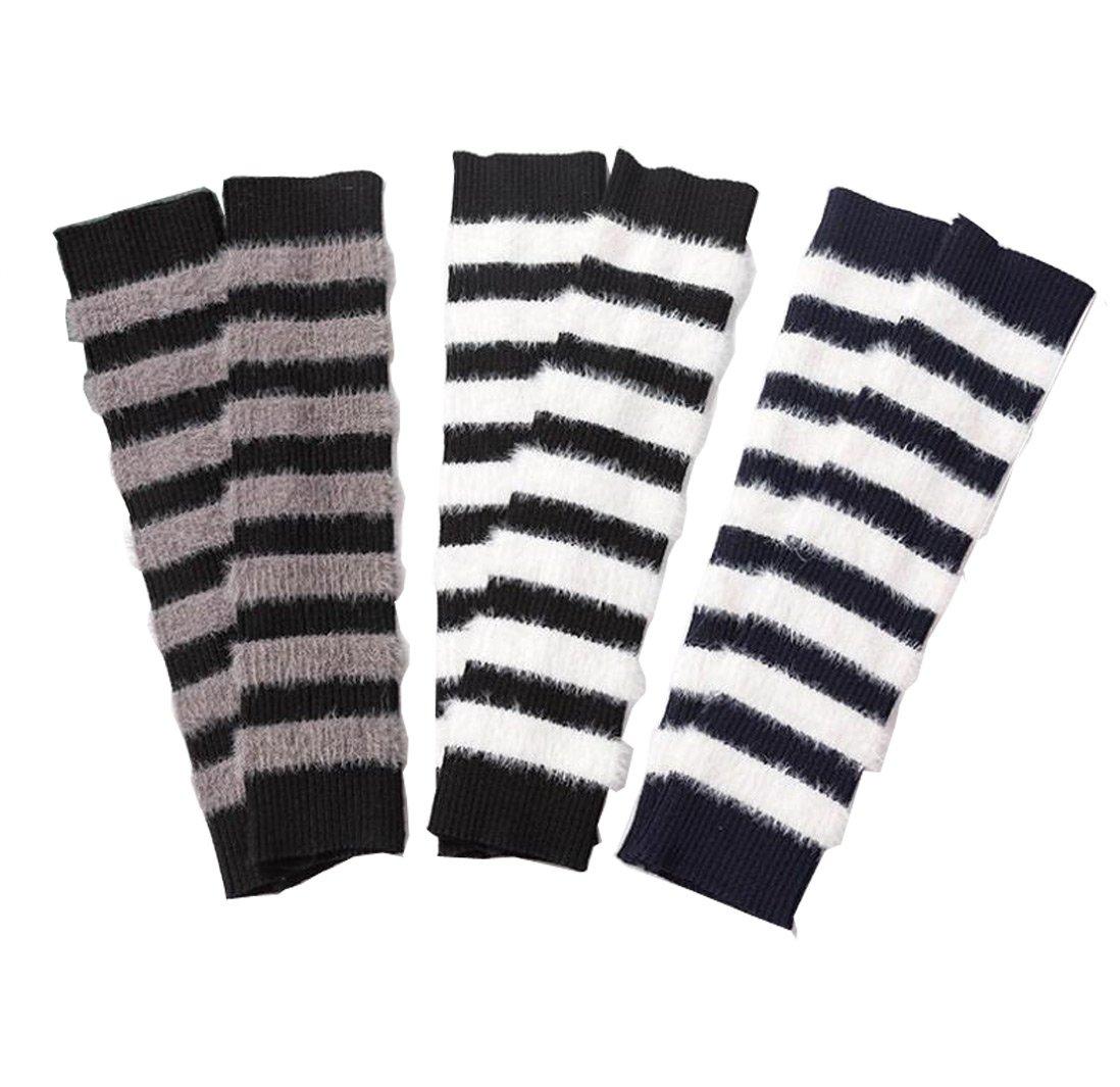 Lucky staryuan 3Pairs Children Leg Warmer Boys Girls Winter Thicker Arm Leg Warmer (Grey Black Navy Blue)
