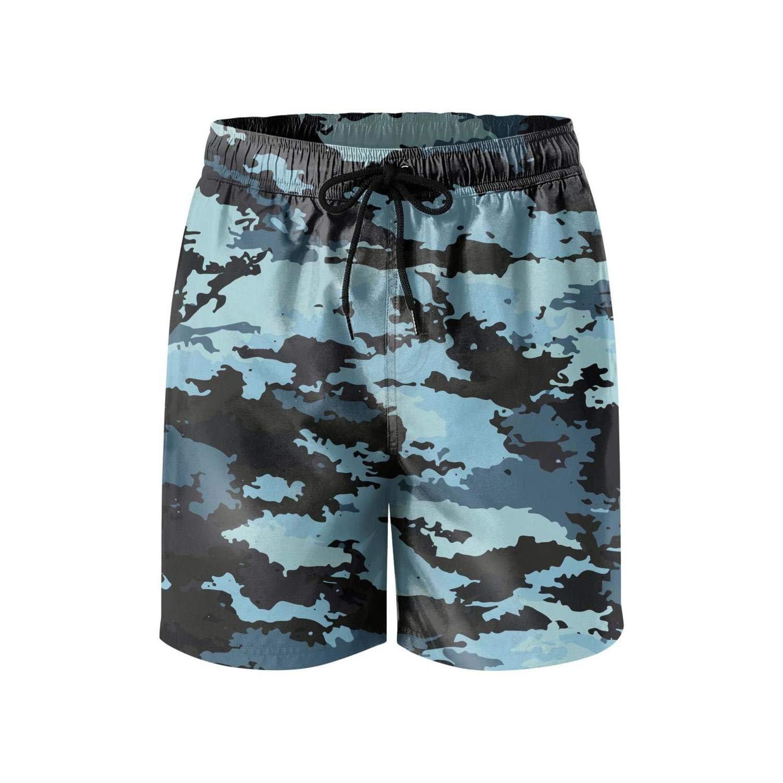 Feewearior Mens Beach Shorts Camouflage Texture Swimming Trunks Pocket Pants Adjustable