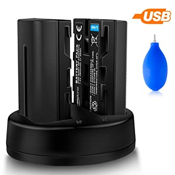 Baterías Recargables Sony NP-F550, Keenstone 2PCS 7.4V 2900mAh Cargador Dual para Cámara CCD-SC Series, CCD-TR Series, CCD-TRV Series, DCR-TRV Series ...