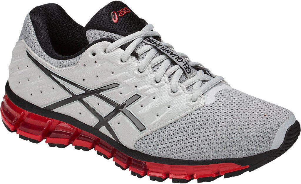1a58162c484 ASICS Mens Gel-Quantum 180 2 MX Running Shoe, Glacier Grey/Phantom/Fiery  Red, Size 11