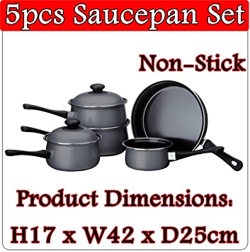 5 pc unidades plateado oscuro acero al carbono mango de baquelita juego de cazo de cocina utensilios de cocina antiadherente sartén leche sartenes con tapa: ...