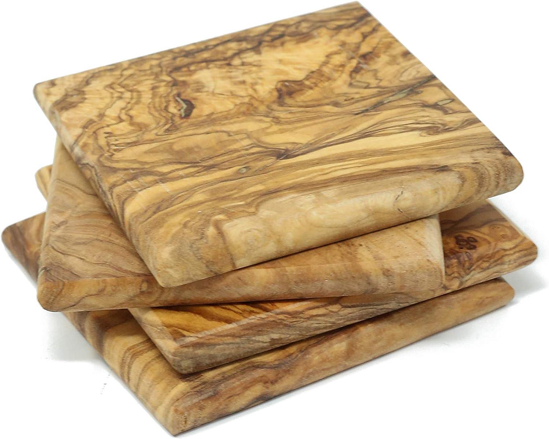 Benera Lot de 4 sous-Verres carr/és en Bois dolivier 8,5 x 8,5 cm pour Verres et Tasses