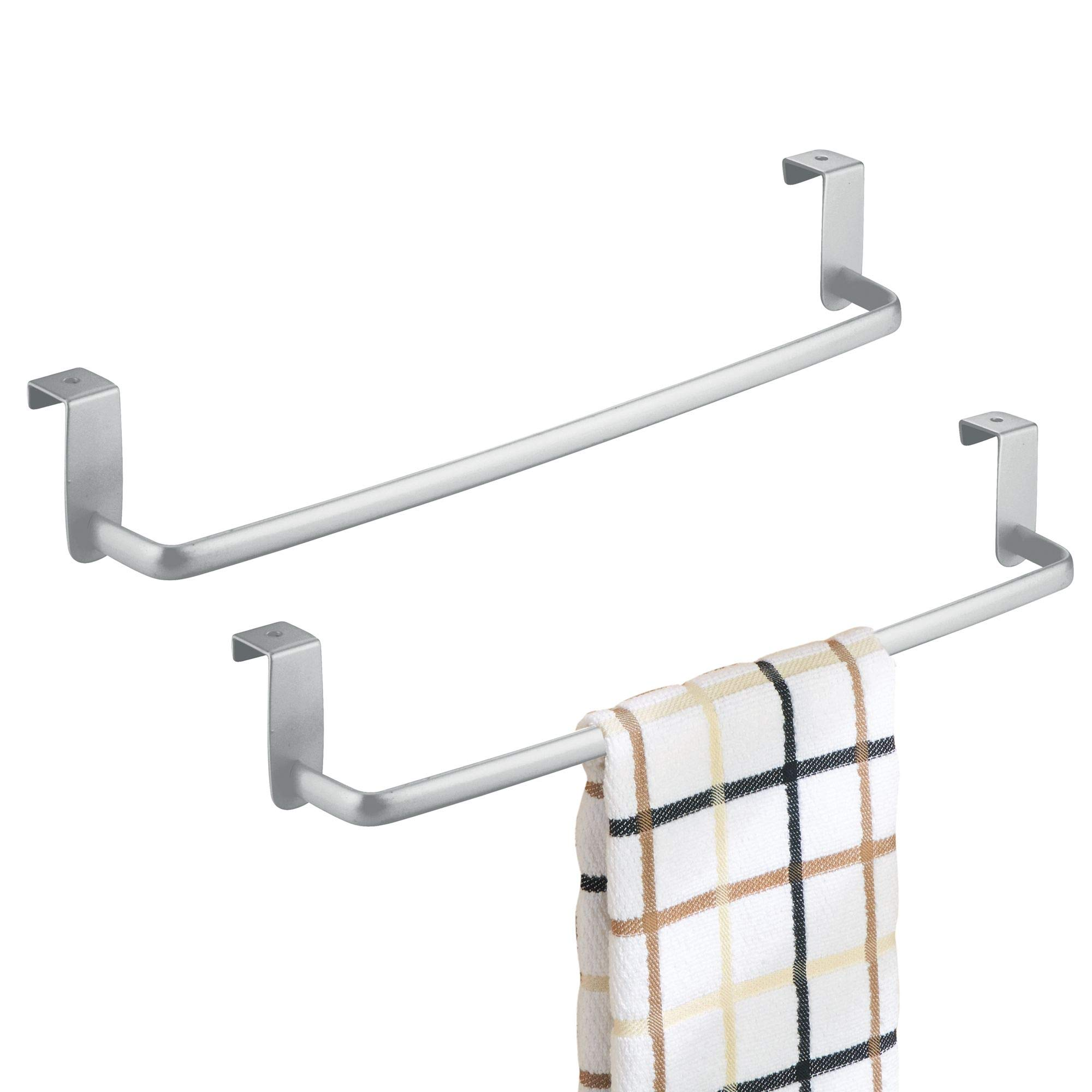 mDesign Kitchen Storage Over Cabinet Curved Steel Towel Bar - Hang on Inside or Outside of Doors, for Organizing and Hanging Hand, Dish, and Tea Towels - 14'' Wide, Pack of 2, Silver Finish