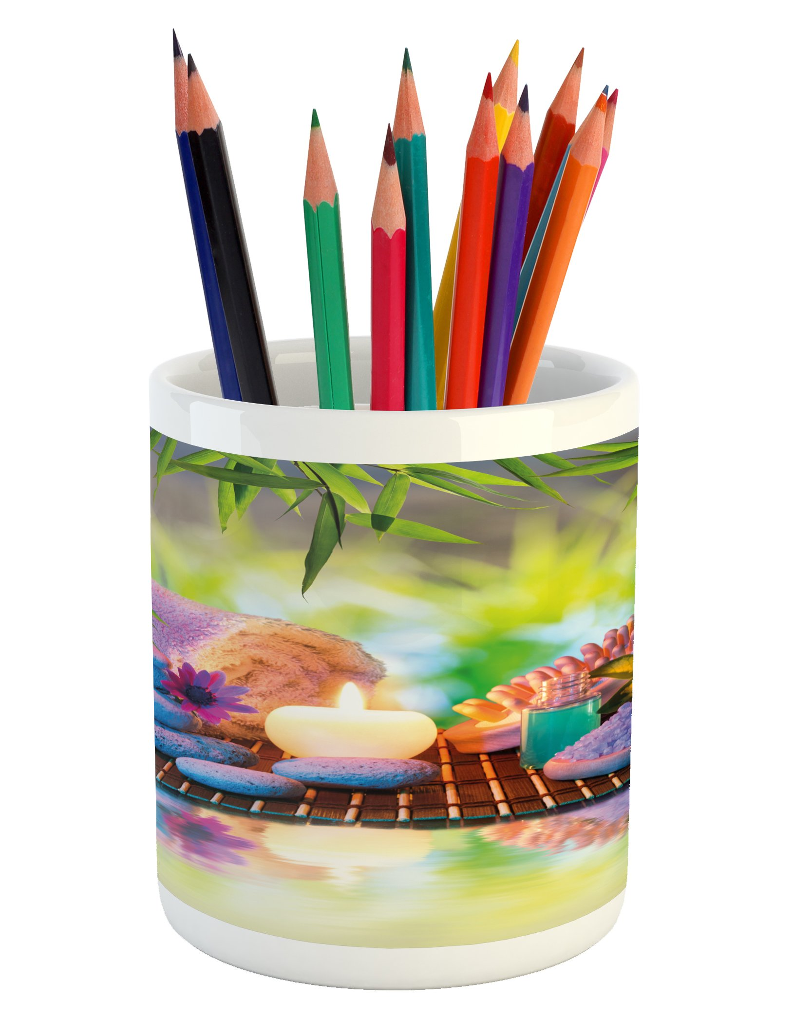 Ambesonne Spa Pencil Pen Holder, Stones with Candles Spiritual Eastern Yoga Relaxation Meditation Chakra Bamboos Print, Printed Ceramic Pencil Pen Holder for Desk Office Accessory, Multicolor