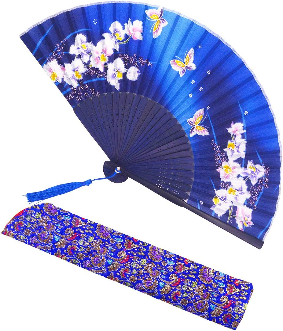 meifan Silk Hand Folding Fan, ChineseJapense Vintage Style Bamboo Hand Held Fans for Women with Sleeve and Tassel - Folding Fans Perfect for Festival Dance Gift Performance Decorations (DarkBlue)