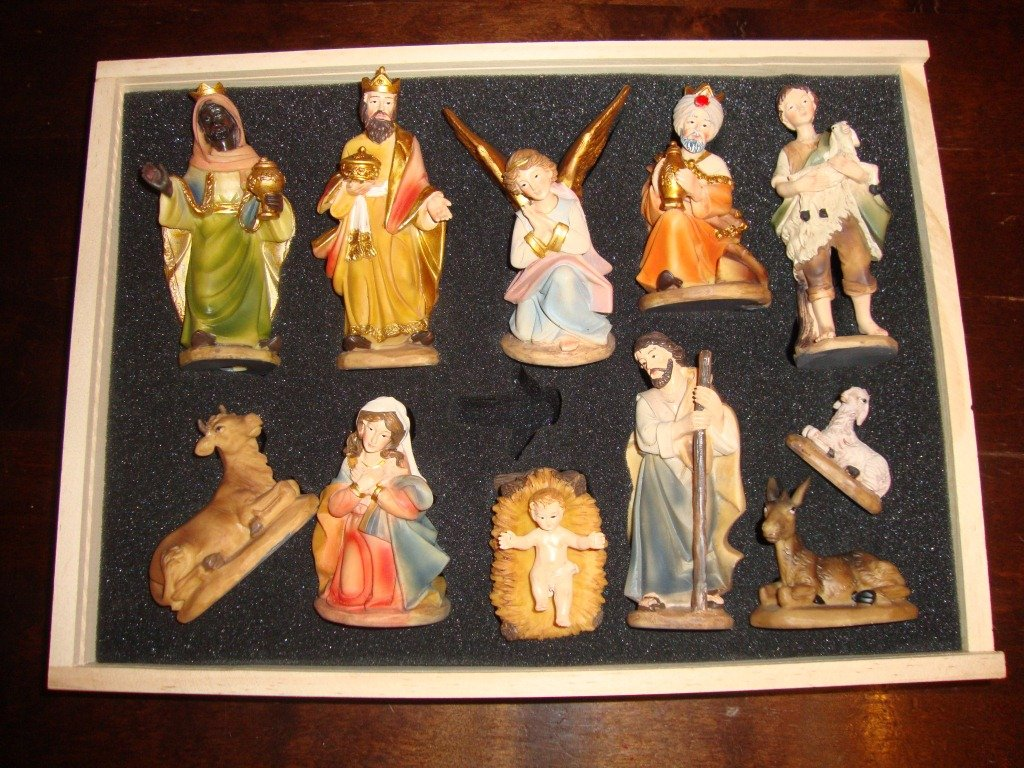 Figuren für viele Holz Weihnachtskrippen Maria Josef Weise sehr hochwertig handbemalt Geschenkbox KFG-Box Holzfiguren-