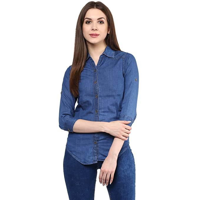 e3c4a8a4be ItkiUtki Girl s   Women s Solid Casual Long Sleeves Denim Dark Blue Shirt  ...